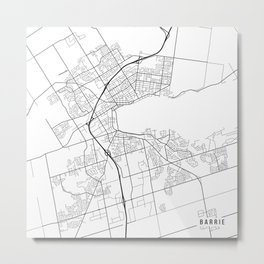 Barrie Map, Canada - Black and White Metal Print