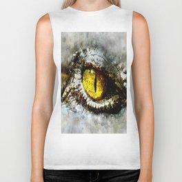 alien crocodile eye reptilian Biker Tank