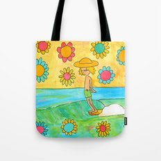 hang 10 groovy surf dude flower power Tote Bag