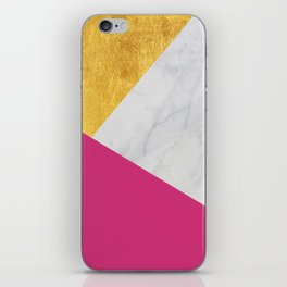 Carrara marble with gold and Pantone Pink Yarrow color iPhone Skin