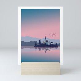 Bled Lake Slovenia Illustration Mini Art Print