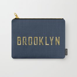 Brooklyn in Gold on Navy Carry-All Pouch