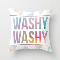 bathroom Throw Pillows featuring BATHROOM SERIES - Washy Washy!  by Noonday Design