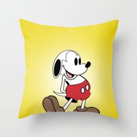 snoopy Throw Pillows featuring Mickey x Snoopy by Nicholas Hyde
