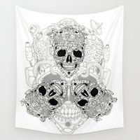 junk food Wall Tapestries featuring junk skull by hueroth