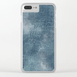 Abstract Grunge Art in Slate Blue and Gray Clear iPhone Case