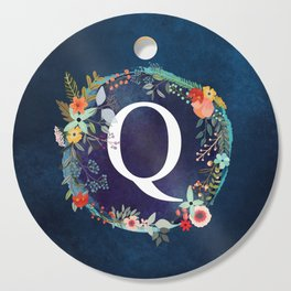 Personalized Monogram Initial Letter Q Floral Wreath Artwork Cutting Board