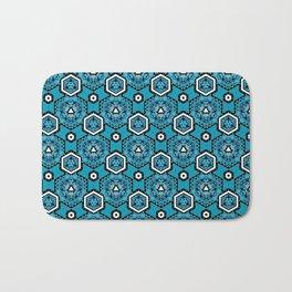 Cerulean Blue Geometric Pattern Design Bath Mat