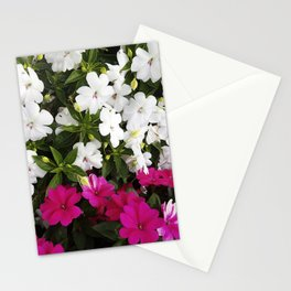 Patient Impatiens - Deep Pink and Sparkling White Stationery Cards