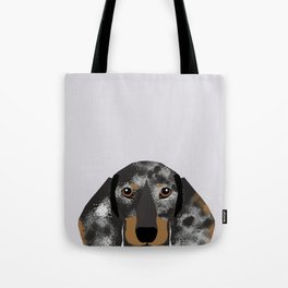 Doxie Portrait - Black and Tan Dapple dog design - cute dachshund face Tote Bag