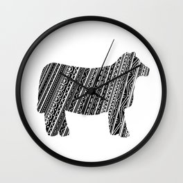 Mandala Heifer Cow Silhouette Wall Clock