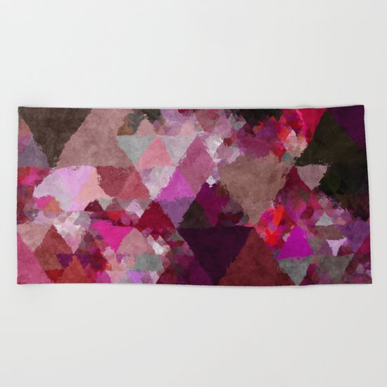 When the night comes- Dark red purple triangle pattern- Watercolor Illustration Beach Towel