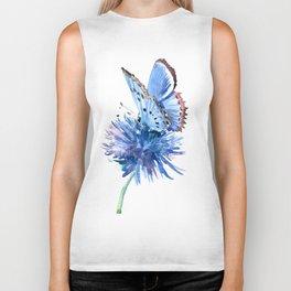 Blue Butterfly and Blue Flower, marine blue minimalist floral butterfly design Biker Tank