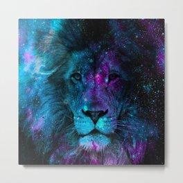 Lion Galaxy Print Metal Print
