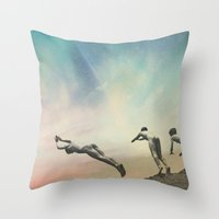 boys Throw Pillows featuring Boys by lacabezaenlasnubes