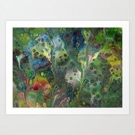 Moody Green Abstract Acrylic Painting Art Print