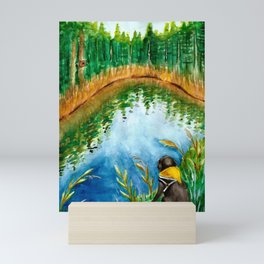 Black Labrador Retriever & Lake Watercolor Mini Art Print