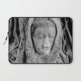Thailand - Ayutthaya Buddha Head tree black & white Photography Laptop Sleeve
