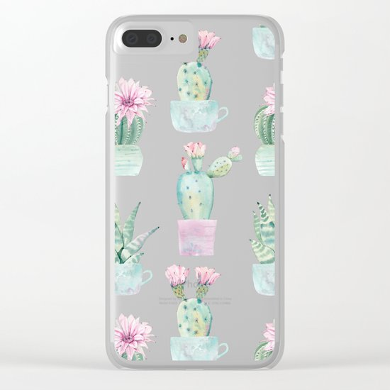 Simply Echeveria Cactus in Pastel Cactus Green and Pink Clear iPhone Case