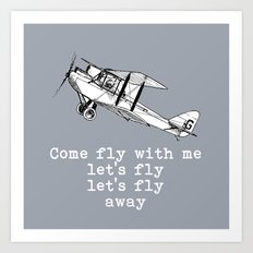 Come fly - airplane vintage inspired Art Print