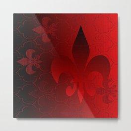 Fleur De Lis Red Holiday Pattern Metal Print
