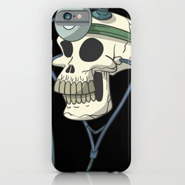Skull with doctor head lamp iPhone Case