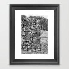 Dry stone wall in mono Framed Art Print