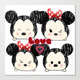 Mickey And Minnie Love Tsums Canvas Print