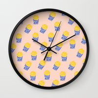 fries Wall Clocks featuring Floral Fries by Bouffants and Broken Hearts