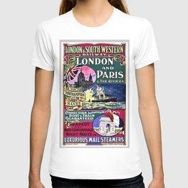 London & Southwest Railway to Paris Vintage Advertisement T-shirt