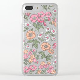 Floral Flowers Vintage Garden Pink Red Peach On Dark Grey Clear iPhone Case