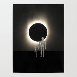 Wooden Anatomy Father Doll and Child before Total Solar Eclipse Poster