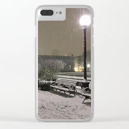 Romantic Seattle Snow At Night Clear iPhone Case