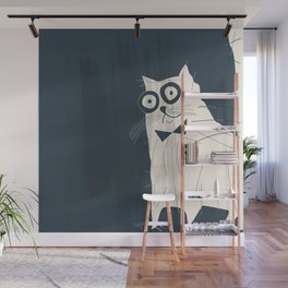 White Fashionable Cat Wall Mural