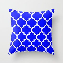 MOROCCAN COBALT BLUE AND WHITE PATTERN Throw Pillow