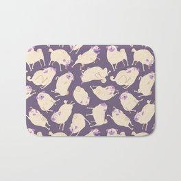 Purple Pugs Pattern Bath Mat