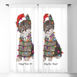 Cute cat with Santa Claus hat and light bulb Blackout Curtain