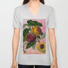 Vintage Botanical Collage, Bradford Peach Unisex V-Neck