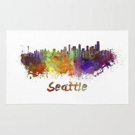 Seattle skyline in watercolor Rug