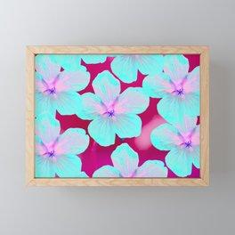 Turquoise Retro Flowers On Pink Background #decor #society6 Framed Mini Art Print