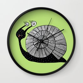 Cartoon Snail With Spiral Eyes Wall Clock