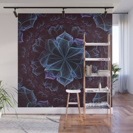 Ornate Blossom in Cool Blues Wall Mural