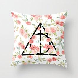 Floral Deathly Hallows Throw Pillow