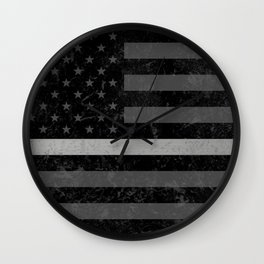Thin Silver Line Flag Wall Clock