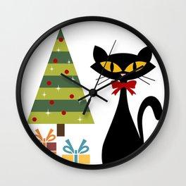 Mid Century Christmas cat Wall Clock