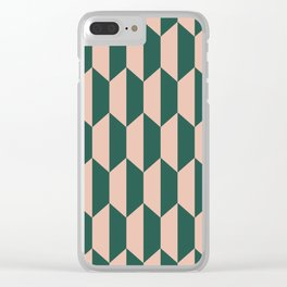 Classic Trapezoid Pattern 241 Forest Green and Dusty Rose Clear iPhone Case