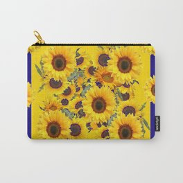 COFFEE BROWN & BLUE YELLOW SUNFLOWERS Carry-All Pouch