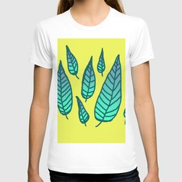 Blue Feathers on Yellow T-shirt