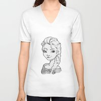 frozen elsa V-neck T-shirts featuring Frozen Elsa by MarievArp