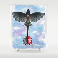 hiccup Shower Curtains featuring Hiccup and Toothless Flying from How to Train your Dragon 2 by Brietron Art